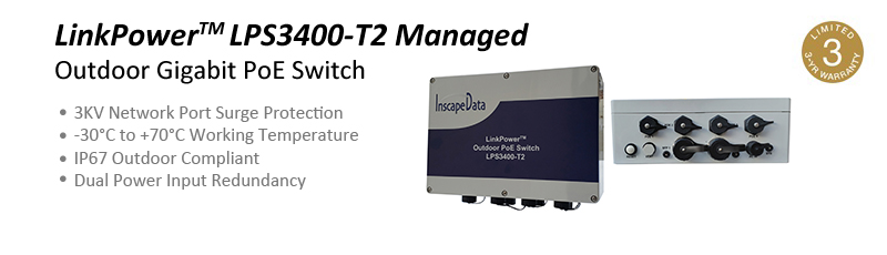 LinkPower2000 Outdoor Gigabit PoE Switch - 3KV Network Port Surge Protection -40~ +75°C Working Temperature IP67 Outdoor Compliant